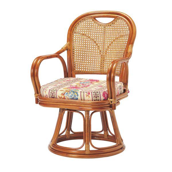 【ラタン】回転椅子 ミドルタイプ(座面高390mm)【R-390S】