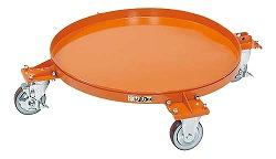 円形ドラム台車 取手なし 200リットル用 直径605×高さ142mm 均等耐荷重:250kg【DR-4M】