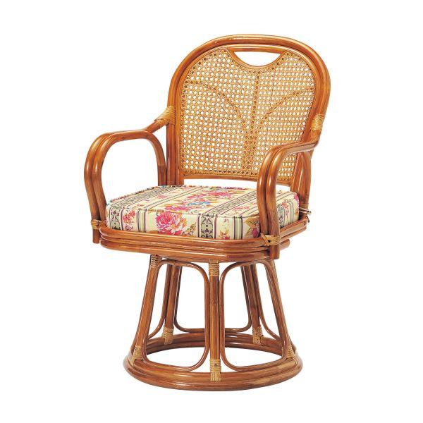 【ラタン】回転椅子 ハイタイプ(座面高440mm)【R-440S】