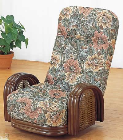 籐リクライニング回転座椅子 ロータイプ【I-S-677】