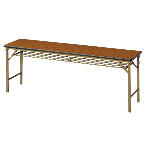 折畳み会議テーブル(ワイド脚)棚付き ソフトエッジ 国産品 幅1800×奥行450mm【WL-1845TSE】