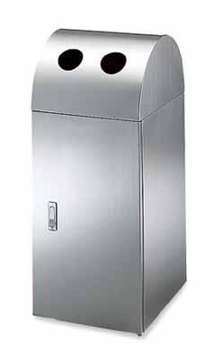 コクヨ フロアタイプ リサイクルボックス ステンレスタイプ カン・ビン用 幅350×奥行き420×高さ850mm【PF-EW301】