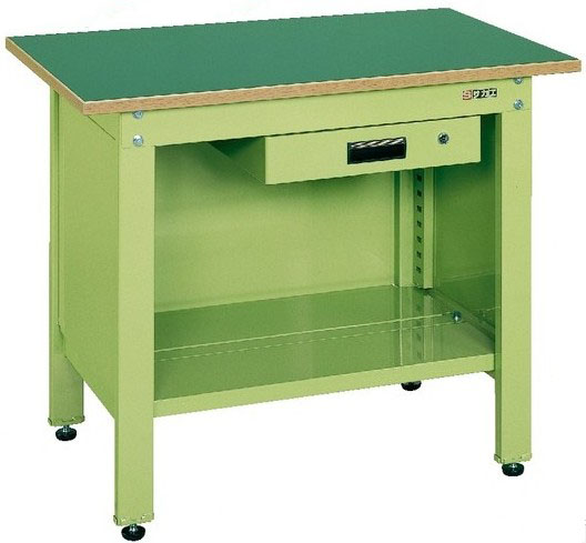 一人用作業台 軽量固定式 引き出し付き グリーン W900×D600×H740mm 耐荷重:350kg【CP-096A】