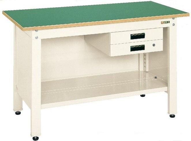 一人用作業台 軽量固定式 引き出し(2段)付き グリーン W900×D600×H740mm 耐荷重:350kg【CP-096B】