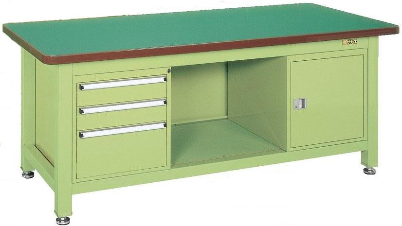 超重量作業台Wタイプ キャビネット(W-0N、W-3N)付 W1800×D900×H740mm 耐荷重:3000kg【WF-893F0B】