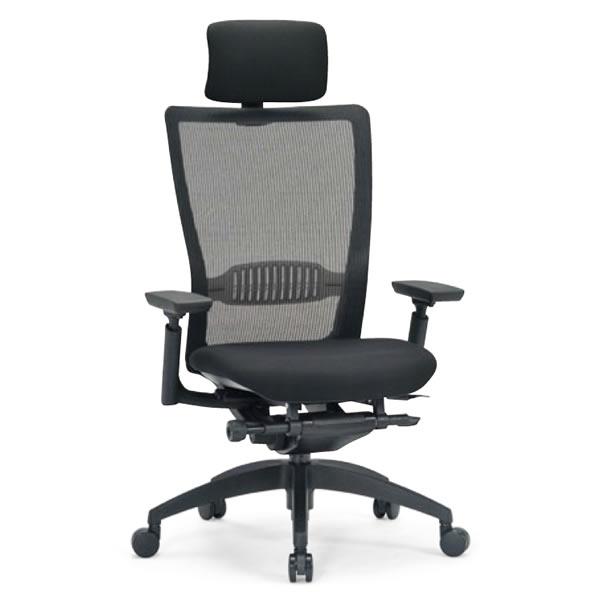 オフィスチェア ハイバック 肘付き ブラック 背/布メッシュ 樹脂脚【R-5755】