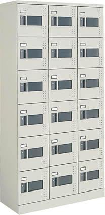 コクヨ 18人用スクールロッカー(3列6段窓付き) ハイタイプ 標準扉 ダイヤル錠 ※受注生産品【SLK-HTW18G】
