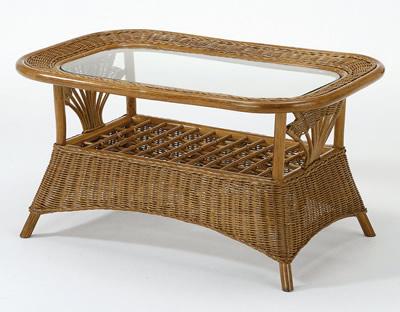 ラタンリビングテーブル・ガラス天板/ テーブル【I-T-161】