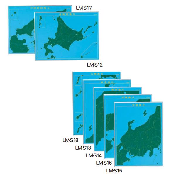 日本地方別地図黒板 スチールグリーン【LM-S12】