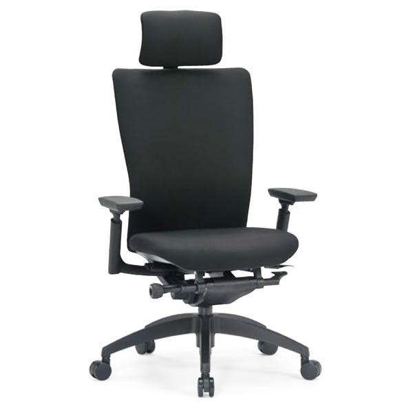 オフィスチェア ハイバック ブラック 肘付き 背張り 樹脂脚【R-5555】