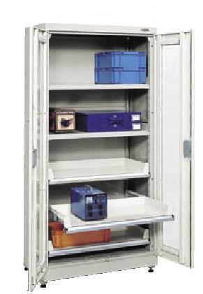 サカエ キャビネット保管システム ポールスライドレール仕様 均等耐荷重:棚板1段当り150kg【B-18BAGY】
