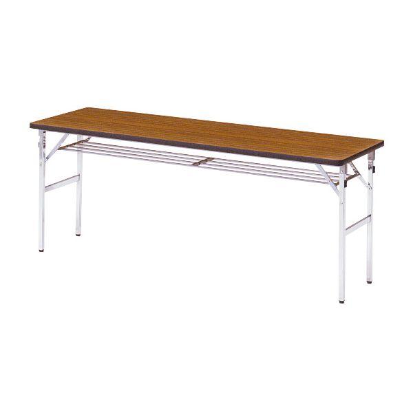 ミーティングテーブル 45M チーク 幅1800×奥行き450×高さ700mm【1-385-1047】