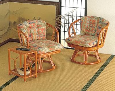 籐回転高椅子&テーブル3点セット【I-BL-107SET】