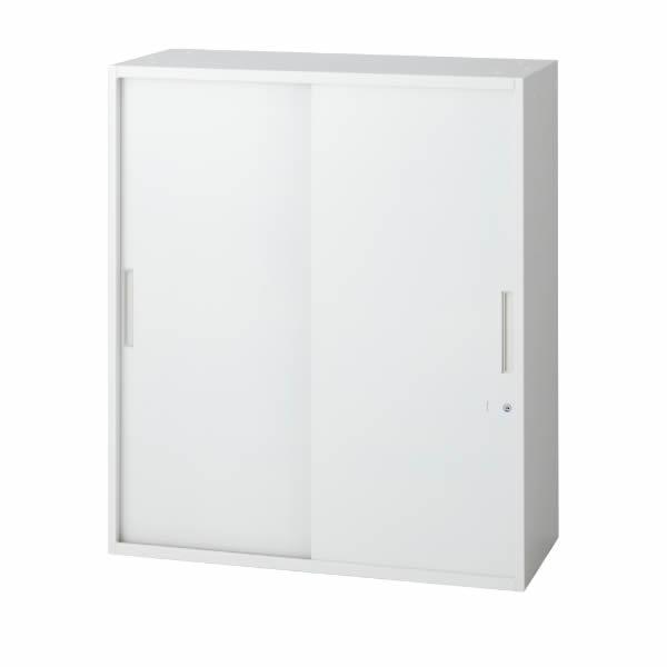 L6 2枚引違い保管庫 幅900×奥行500×高さ1050mm 上置き・下置き 可動式棚板2枚 (648-306)【L6-F105S】