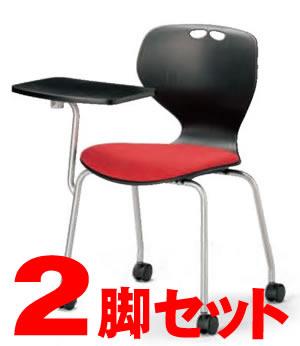 【2脚セット】ミーティングチェア・スタッキングチェア/ (ブラック) メモ台付肘なしキャスタータイプ【MC-424TB-2SET】