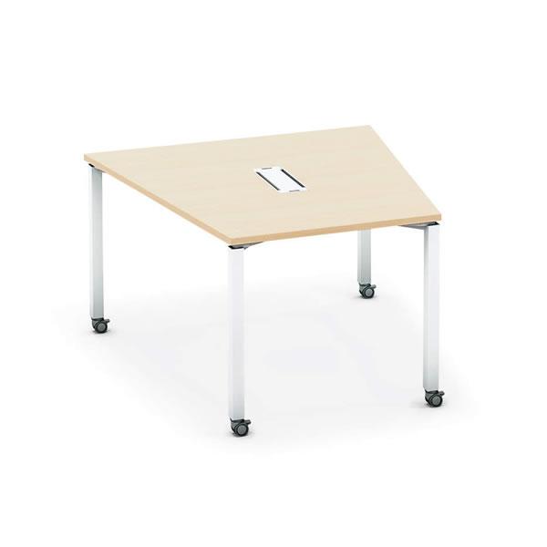 ワークフィット ミーティングテーブル 台形 配線ボックス付き キャスター脚 幅1216×奥行1185×高さ720mm【SD-WFTBC118】