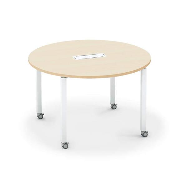 ワークフィット ミーティングテーブル φ1400円形 配線ボックス付き キャスター脚 幅1400×奥行1400×高さ720mm【SD-WFTBC14】