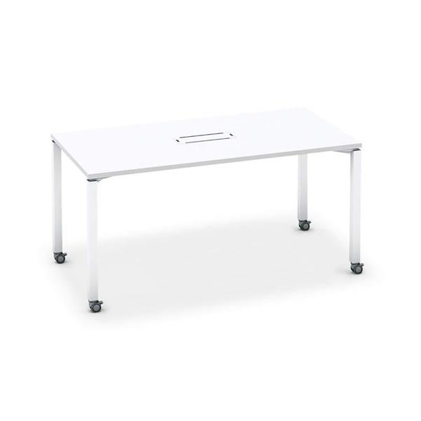 ワークフィット ミーティングテーブル 角形 配線ボックス付き アジャスター脚 幅1500×奥行750×高さ720mm【SD-WFTBA157】