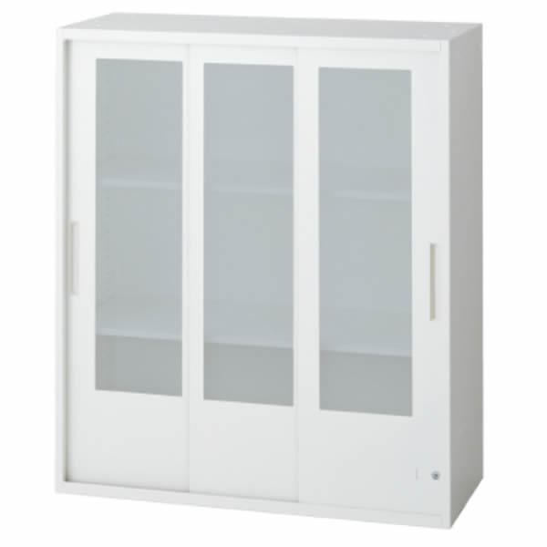 L6 3枚ガラス引違い保管庫 幅900×奥行450×高さ1050mm 上置き 可動式棚板2枚 乳白色 (648-381)【L6-105SG】
