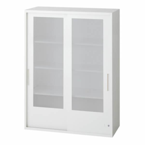 L6 2枚ガラス両開き保管庫 幅900×奥行450×高さ1210mm 上置き 可動式棚板3枚 乳白色 (648-335)【L6-120G】