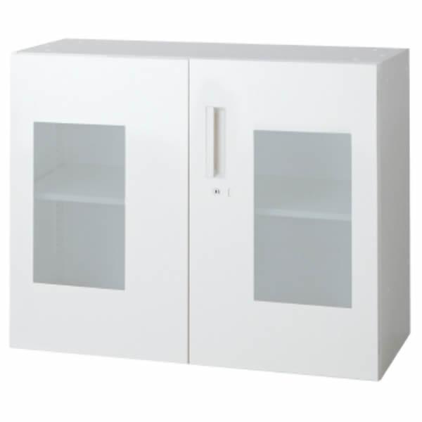 L6 ガラス両開き保管庫 幅900×奥行450×高さ720mm 上置き 可動式棚板1枚 乳白色 (648-251)【L6-70AG】