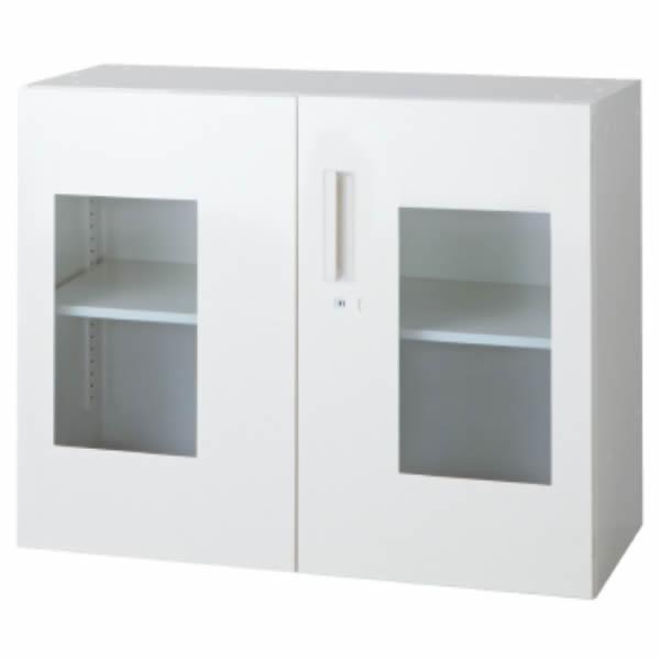 L6 ガラス両開き保管庫 幅900×奥行450×高さ720mm 上置き 可動式棚板1枚 透明 (648-250)【L6-70AG-C】