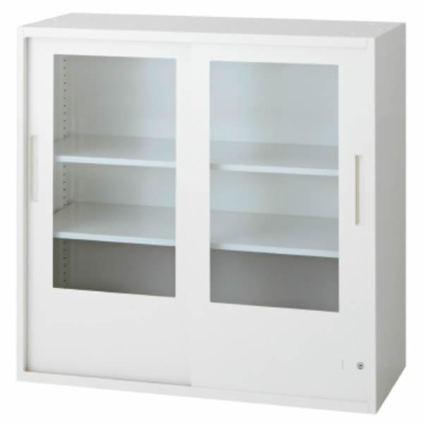 L6 2枚ガラス両開き保管庫 幅900×奥行450×高さ890mm 上置き 可動式棚板2枚 透明 (648-330)【L6-90G-C】