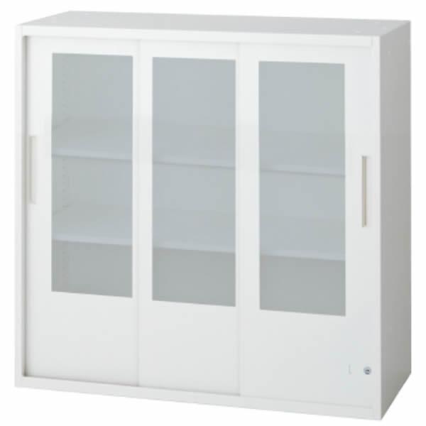 L6 3枚ガラス引違い保管庫 幅900×奥行450×高さ890mm 上置き 可動式棚板2枚 乳白色 (648-379)【L6-90SG】