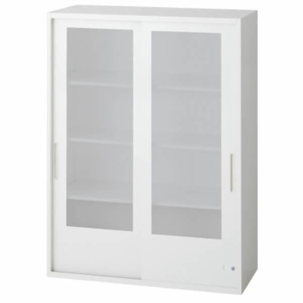 L6 2枚ガラス両開き保管庫 幅900×奥行400×高さ1210mm 上置き 可動式棚板3枚 乳白色 (648-343)【L6-A120G】