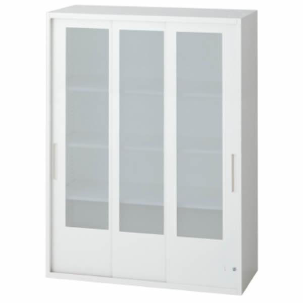L6 3枚ガラス引違い保管庫 幅900×奥行400×高さ1210mm 上置き 可動式棚板3枚 乳白色 (648-391)【L6-A120SG】