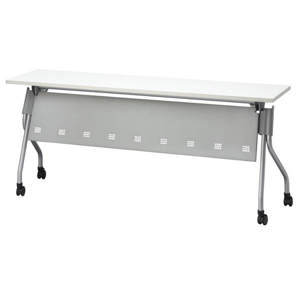 FR型スタックテーブル (天板ハネ上げ式・平行スタック式) 幕板付き 棚付き 幅1800×奥行450×高さ700mm【FR-P1845T】