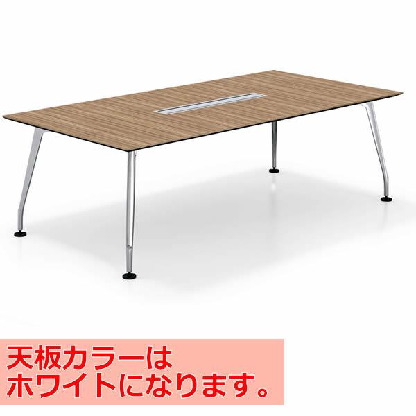コクヨ SAIBI(サイビ) ミーティングテーブル スクエアタイプ(単体) 配線あり ポリッシュ脚 ホワイト天板 幅2400×奥行1200mm【SD-XKU2412APMPAW】