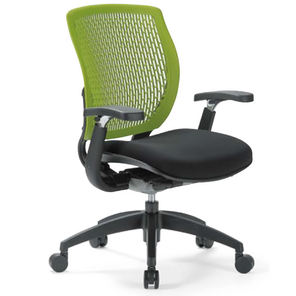 オフィスチェア ローバック 可動肘付き 樹脂メッシュバックチェア【MA-1515AJ】