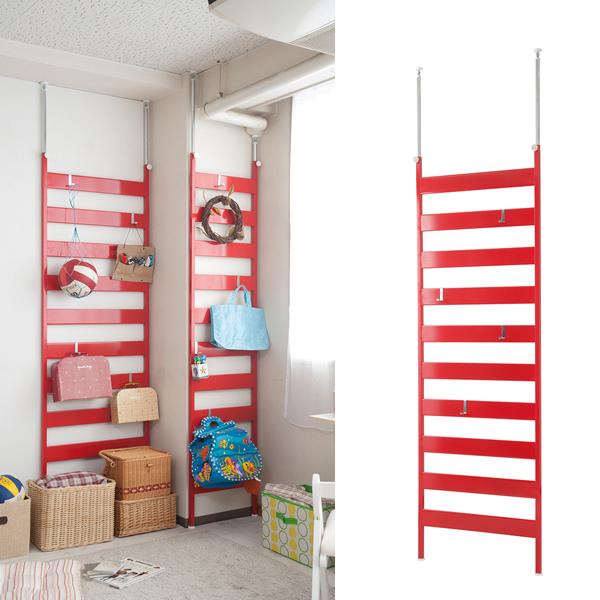 壁面ディスプレイ ラダーラック 幅66cmタイプ 赤色【NSA-NJ-0455】