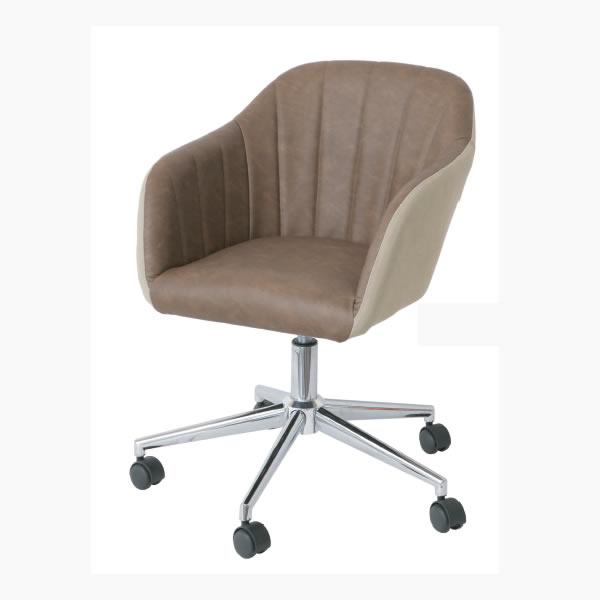 【chair & stool】 デスクチェアー DBR-BE(ダークブラウン-ベージュ)【IC-CH-2800DBR-BE】