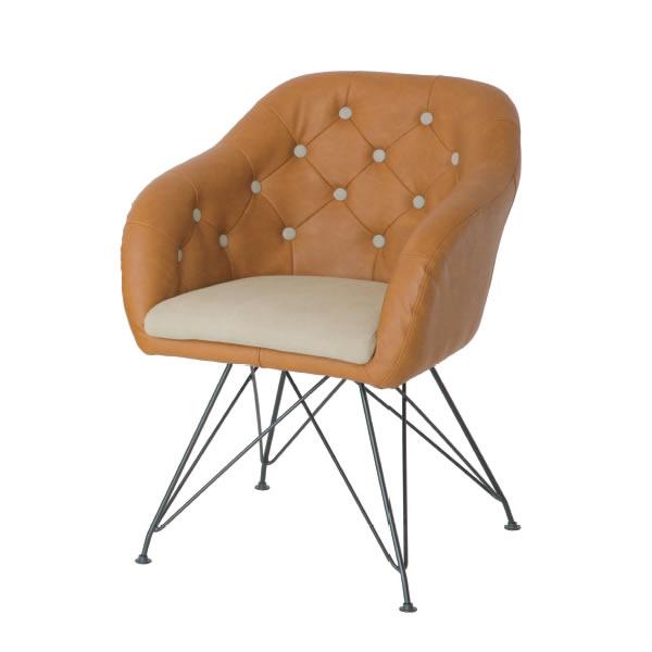 デザインチェア【chair & stool】 チェアー BE-BR(ベージュ-ブラウン)【IC-CH-2803BE-BR】