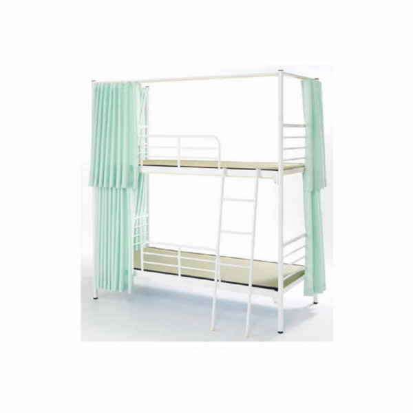 スチール2段ベッド (カーテン付グリーン) 【国産】【KBS-212CG】