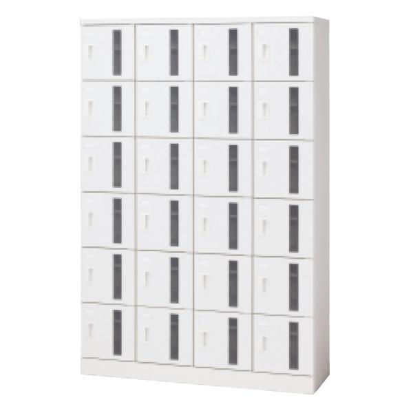 シューズボックス 24人用(4列6段) 錠なし窓付タイプ ホワイト (16-915)【SB-TH46W】