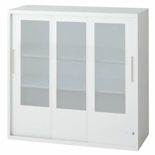L6 3枚ガラス引違い保管庫 幅900×奥行400×高さ890mm 上置き 可動式棚板2枚 乳白色 (648-387)【L6-A90SG】