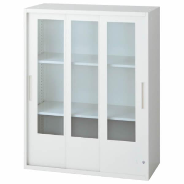 L6 3枚ガラス引違い保管庫 幅800×奥行450×高さ1050mm 上置き 可動式棚板2枚 透明 (648-396)【L6-E105SG-C】