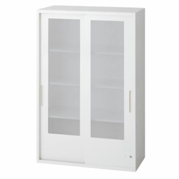 L6 2枚ガラス両開き保管庫 幅800×奥行450×高さ1210mm 上置き 可動式棚板3枚 乳白色 (648-349)【L6-E120G】