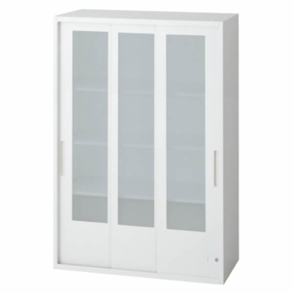 L6 3枚ガラス引違い保管庫 幅800×奥行450×高さ1210mm 上置き 可動式棚板3枚 乳白色 (648-399)【L6-E120SG】