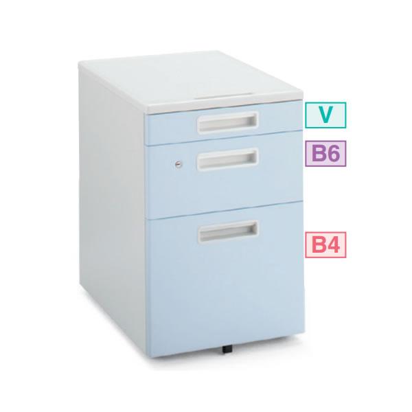 コクヨ INVENT/インベント V3ワゴン ホワイトブルー色 幅395×奥行600×高さ612mm【TKG-V3T1】