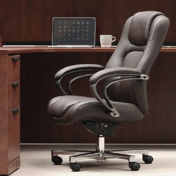 オフィスチェア マネージメントチェア ハイバック ポリウレタンレザー+ビニールレザー張り【RB-1755】