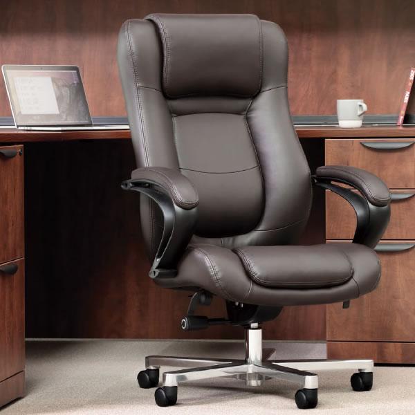 オフィスチェア マネージメントチェア ハイバック ボンデッドレザー+ビニールレザー張り【RB-1855】