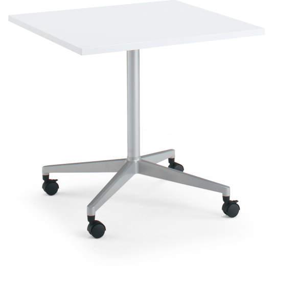 コクヨ ジュート(JUTO) ミーティング用テーブル(単柱脚・正方形天板) ポリッシュ脚 キャスター付き 幅750×奥行750×高さ720mm ラウンドエッジ【MT-JTJR77P-C】