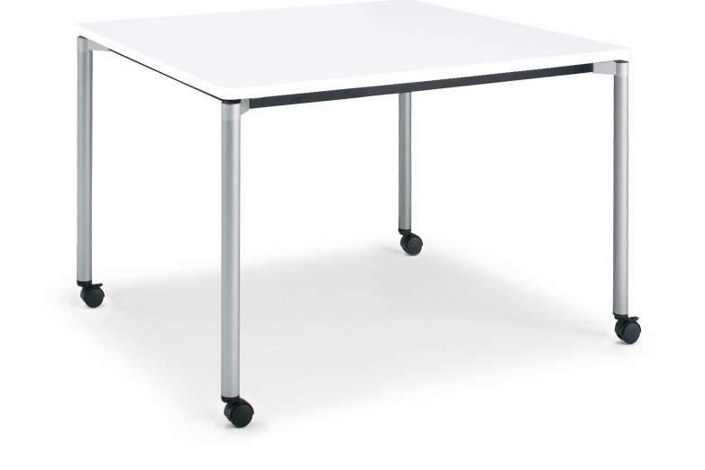 コクヨ ジュート(JUTO) ミーティング用テーブル(4本脚 丸脚・正方形天板) キャスター付き ラウンドエッジ 幅900×奥行900×高さ720mm【MT-JTMR99-C】