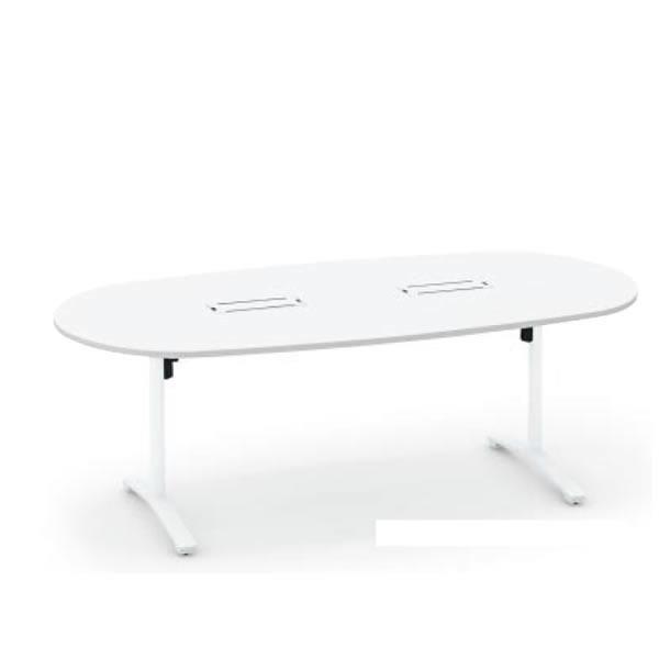 コクヨ ビエナ VIENA 配線ボックス付き 楕円形テーブル(T字脚) ポリッシュ脚タイプ 幅2400×奥行1050×高さ720mm【MT-VD241BPM】