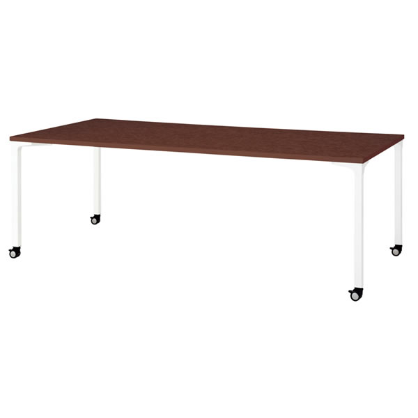 ronna ロンナ テーブル 長方形 4本脚キャスタータイプ マホガニー色天板 幅2100×奥行1000×高さ720mm【NN-2110PKR-LM】