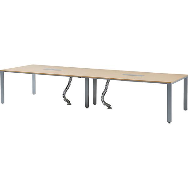 【HTS】ミーティングテーブル(シルバー脚) 幅3600mm コンセントボックス付き【HTS-S3612】